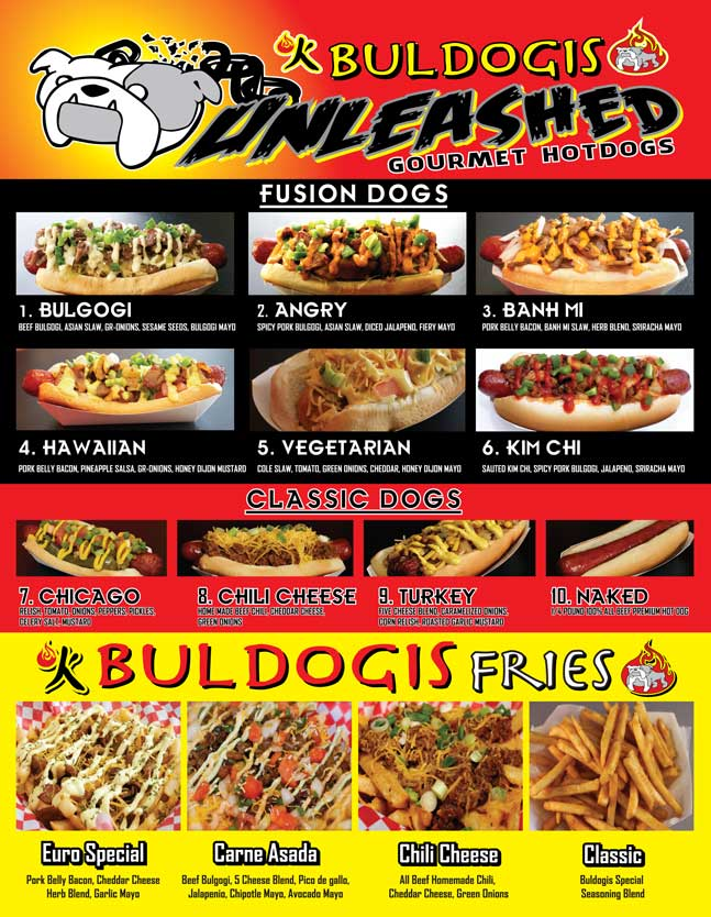 Buldogis food truck menu